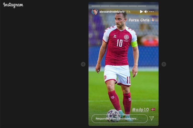 Publicación en el Instagram de Alessandro Del Piero