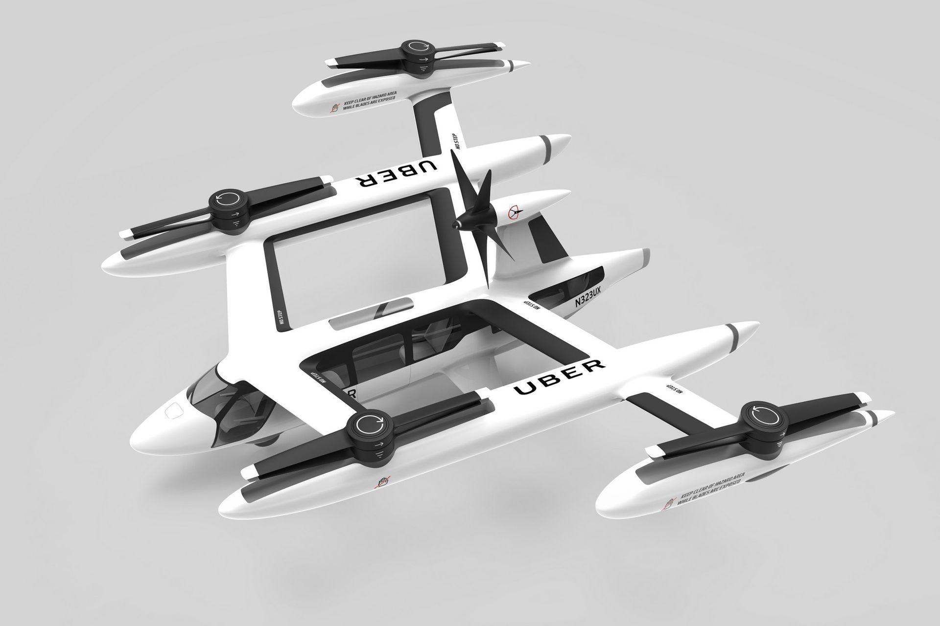 El diseño de eVTOL de Uber incluye cuatro rotores y un quinto motor que impulsará la aeronave; tiene capacidad para cuatro pasajeros y un piloto