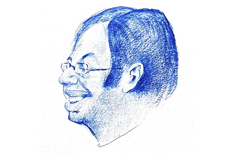 Oscar Strasnoy, retratado por Sábat