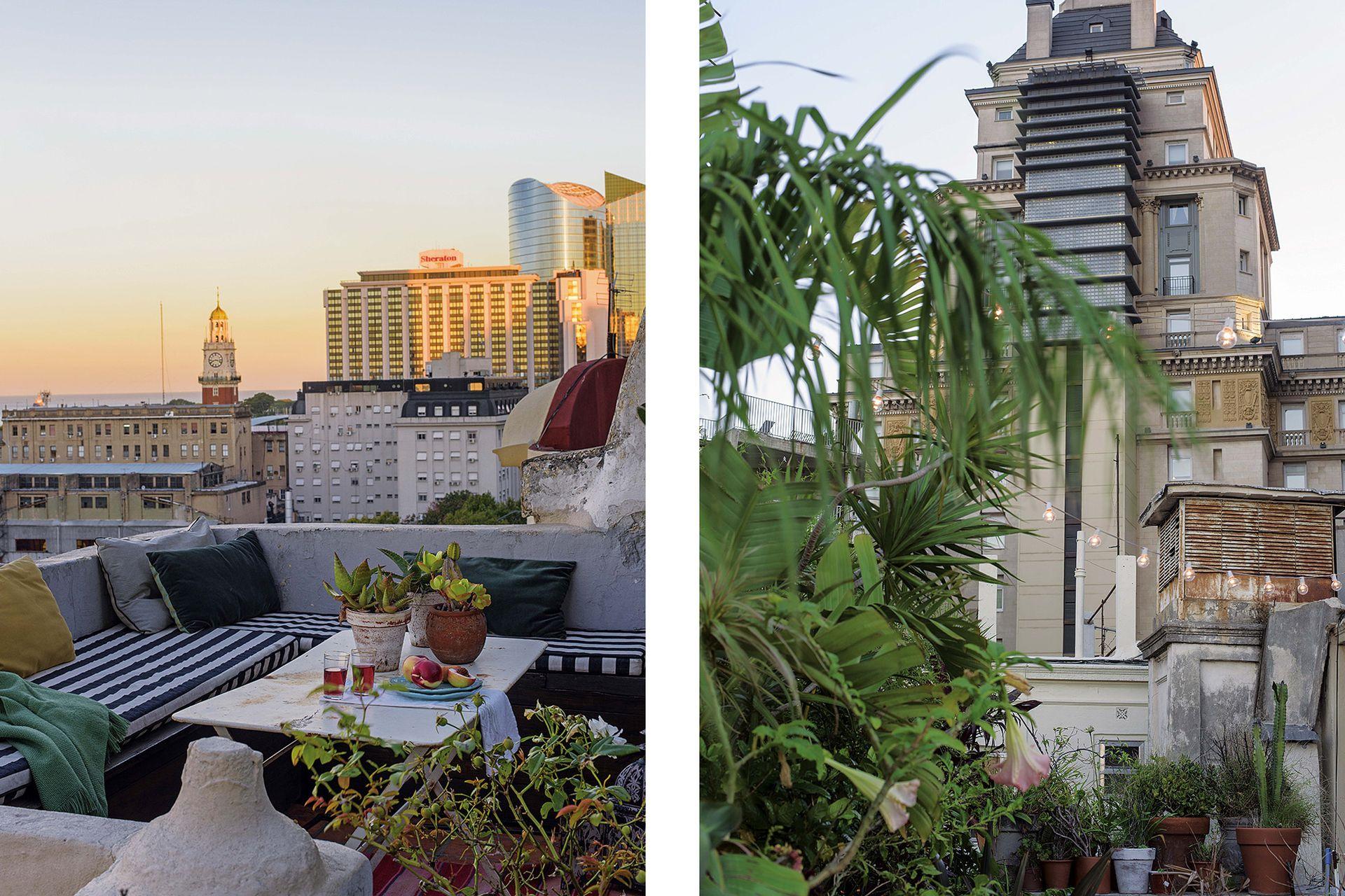 Desde la alegre informalidad de la terraza, vista a la Torre de los Ingleses y a la Torre Mihanovich.