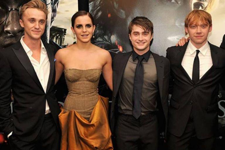 Tom Felton, Emma Watson, Daniel Radcliffe y Rupert Grint en el estreno de Harry Potter y las reliquias de la muerte, parte 2, en el año 2011