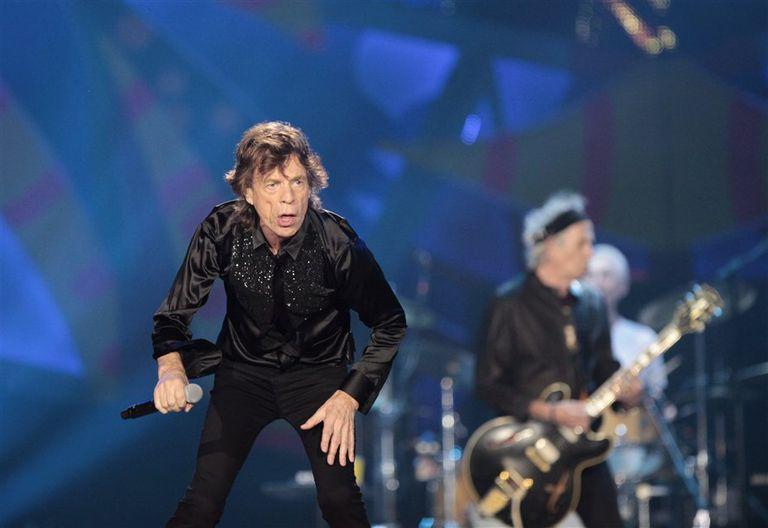 Mick Jagger y su inseparable socio Keith Richards en el primero de los tres shows en La Plata
