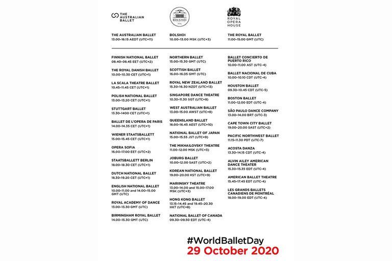 Grilla oficial para seguir el World Ballet Day paso a paso