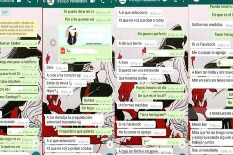 Mensajes enviados por Irineo Garzón, acusado de drogar a una chica venezolana y abusar de ella en un local de venta de uniformes médicos de Balvanera