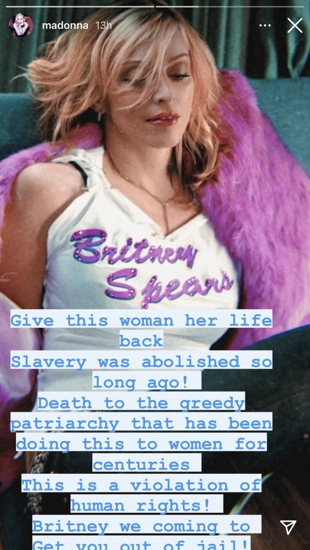 La story de Madonna en apoyo a Britney Spears