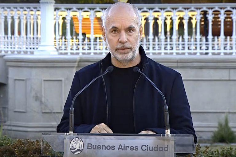 Horacio Rodríguez Larreta durante los anuncios de las actividades de invierno