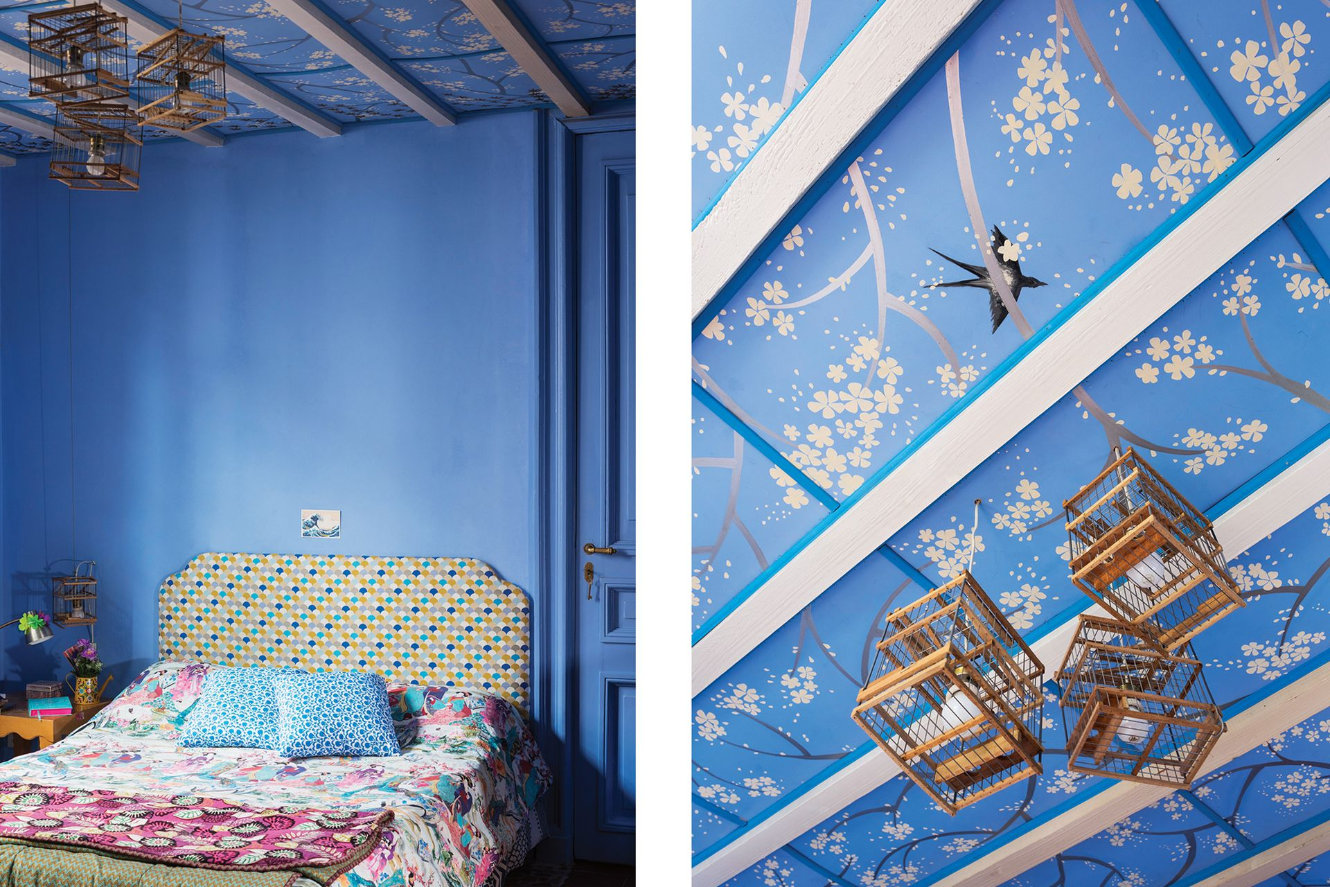 """Las paredes del cuarto de otra de sus hijas, Emma, están pintadas con pigmento azul que Rosa trajo de un viaje a Chefchaouen, en Marruecos. """"El pueblo entero está pintado así. Ellos lo mezclan con cal; yo lo mezclé con látex común""""."""