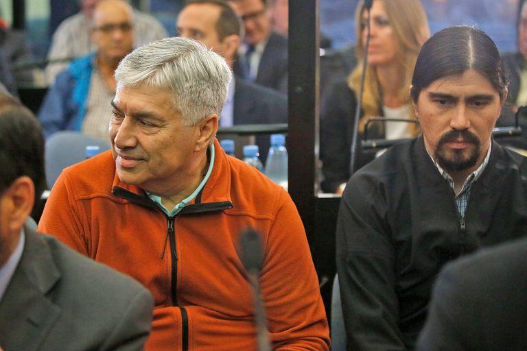 """Lázaro Báez y su hijo Martín, la semana pasada, durante la audiencia del juicio oral por """"la ruta del dinero k"""