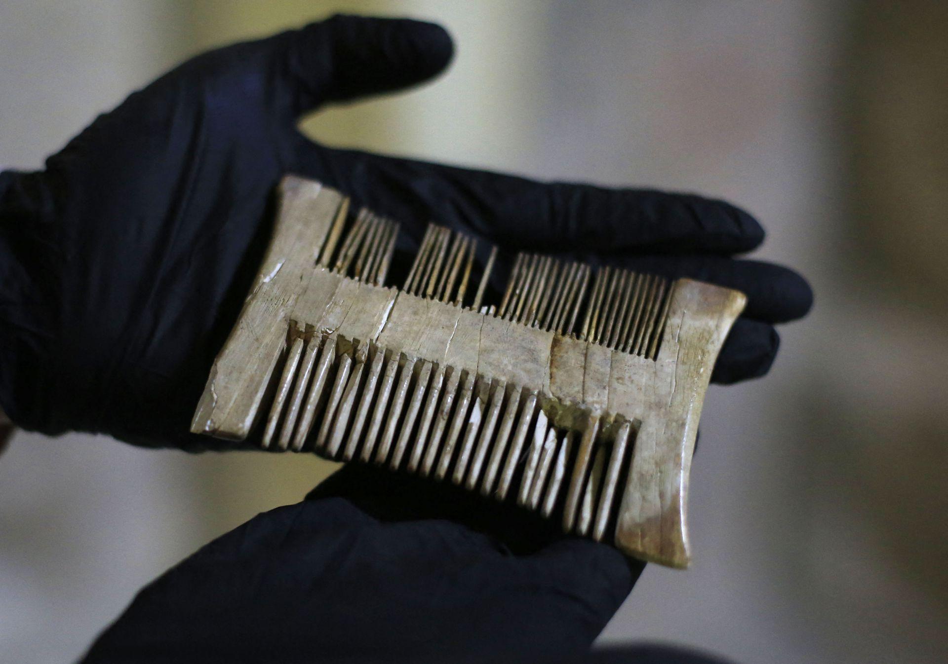 Un arqueólogo muestra un peine antiguo y en muy buen estado, se cree que es de la época de las cruzadas