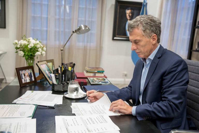 Mauricio Macri en su despacho de la quinta presidencial en 2018