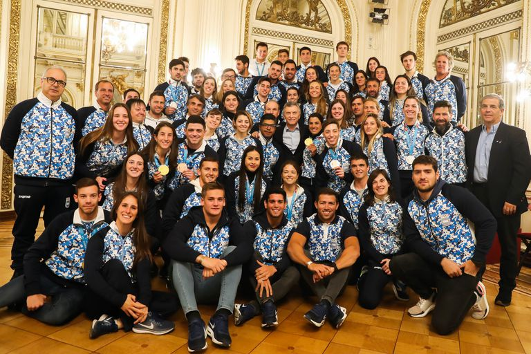 Mauricio Macri recibió a los atletas que participaron en los Panamericanos