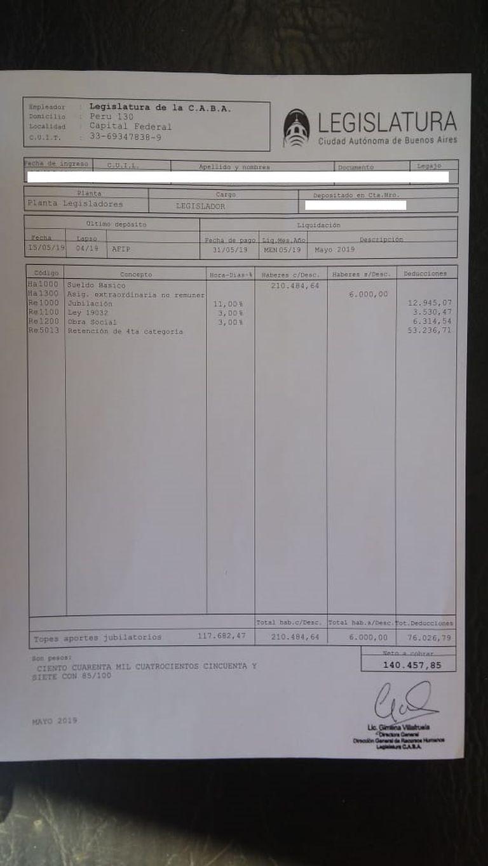El recibo de sueldo de la legislatura porteña