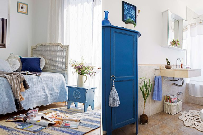 En el dormitorio, alfombra 'Olas' tejida en telar ($12.619, Awanay); en el toilette, un modelo hecho al crochet ($1.200, Everything)