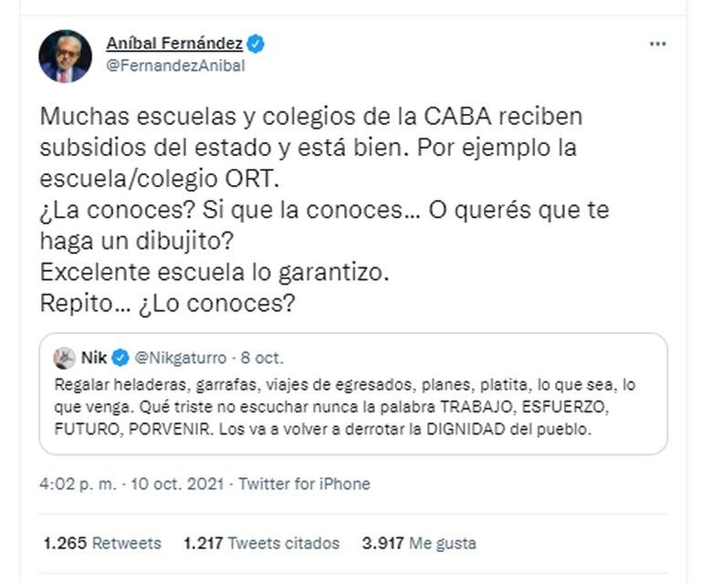 El mensaje del ministro de Seguridad, Aníbal Fernández, al caricaturista por su tuit