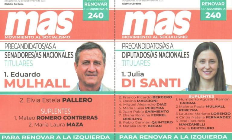 El Movimiento al Socialismo compite con lista única en las PASO cordobesas.