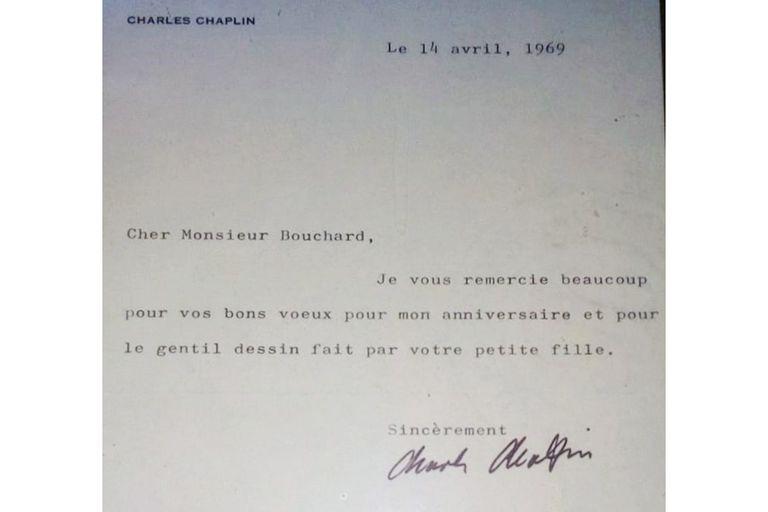 La carta que le envió Chaplin al coleccionista argentino Enrique Bouchard