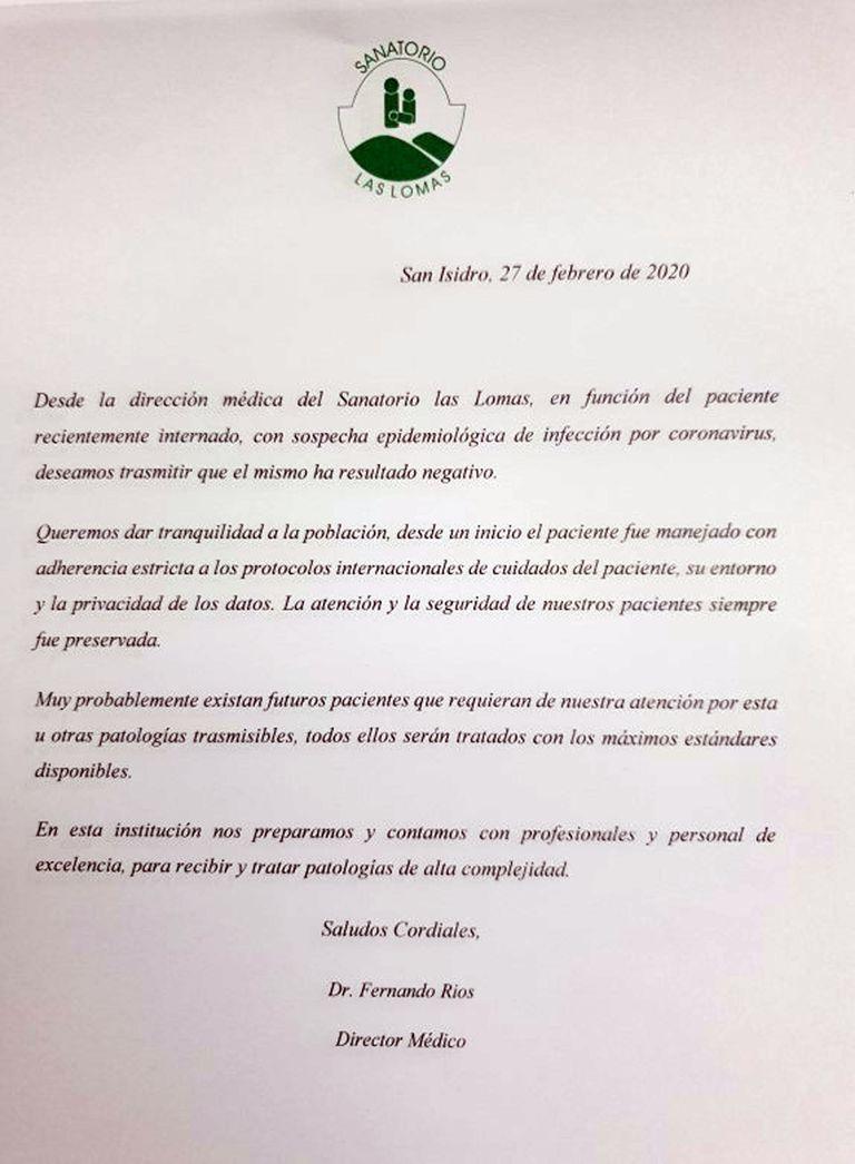El comunicado de la clínica de San Isidro