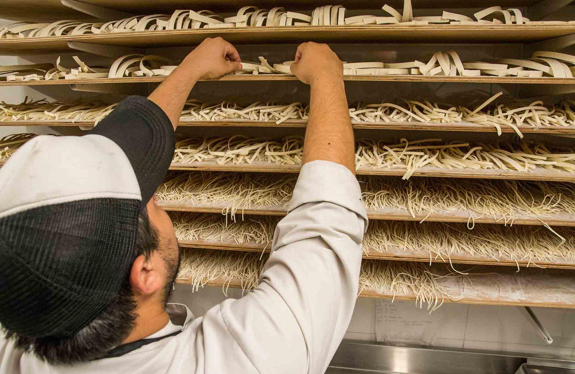 La variedad de pasta casera de Lucca, recién elaborada.
