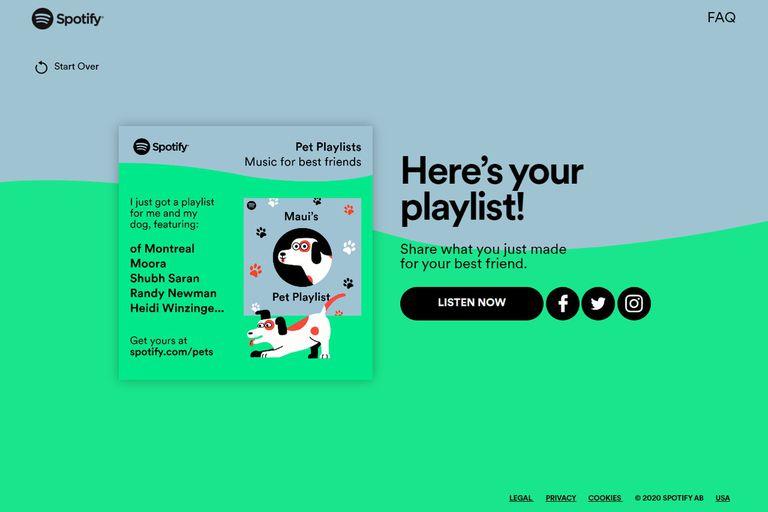 Se pueden generar listas de reproducción de música para perros, gatos, hamsters, iguanas o pájaros