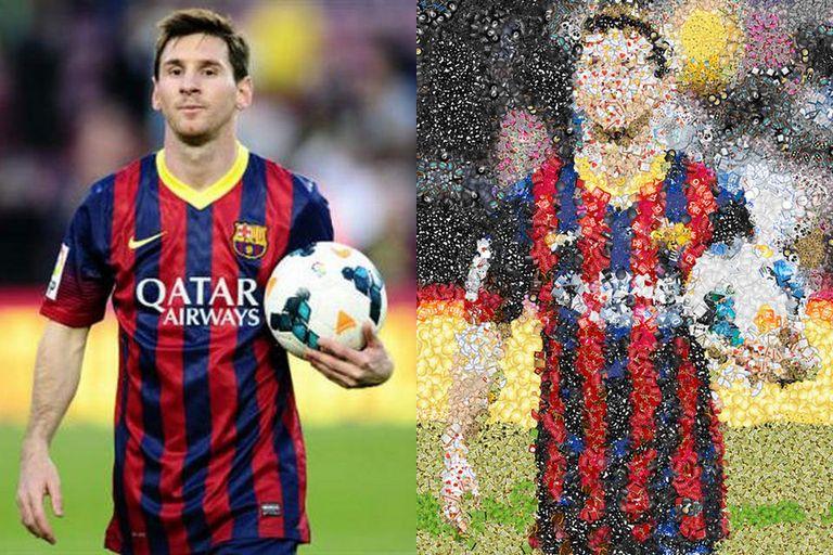 Una foto de Messi bajo el efecto del mosaico de emojis