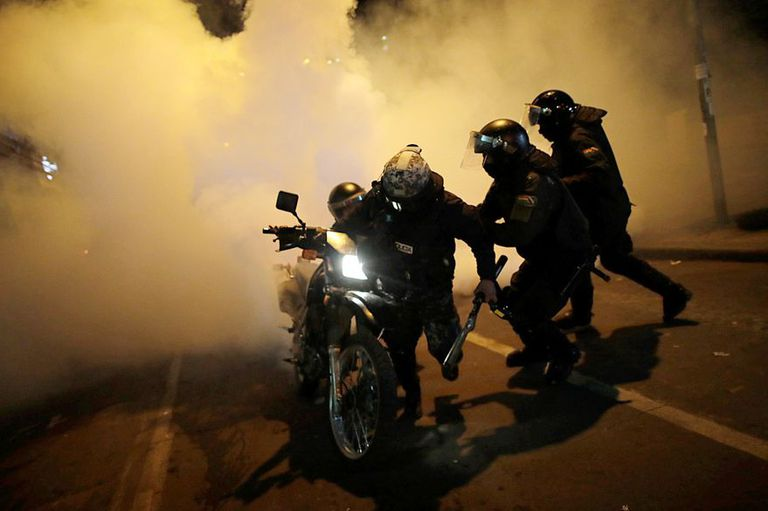 Imagenes de la represión contra las protestas de apoyo en favor de Morales