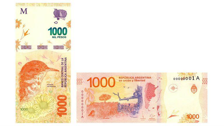 Anverso y reverso del billete de $ 1000