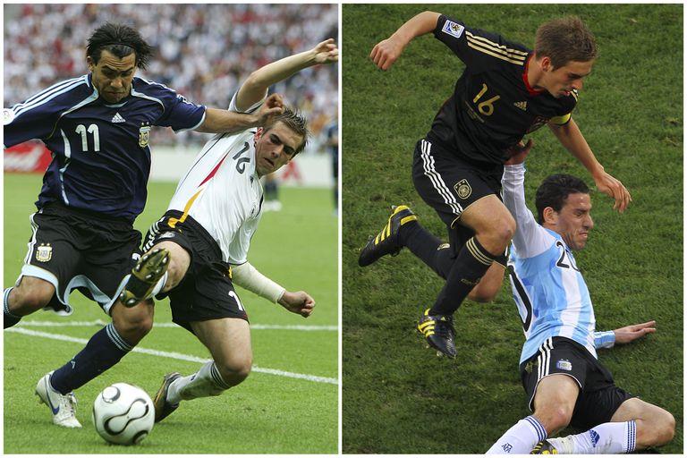 Lahm jugó tres mundiales y en los tres se cruzó con la Argentina: frente a Tevez, en los cuartos de final de Alemania 2006, y ante Maxi Rodríguez en Sudáfrica 2010; pasó a las semifinales y perdió contra Italia y España, respectivamente..., finalmente los campeones