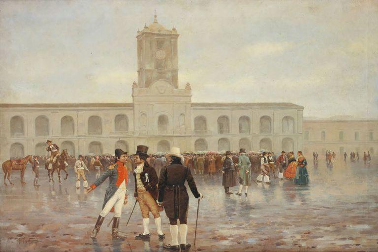 La Revolución de Mayo, óleo de Francisco Fortuny