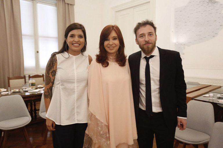 Daniela Vilar, Cristina Kirchner y Federico Otermin