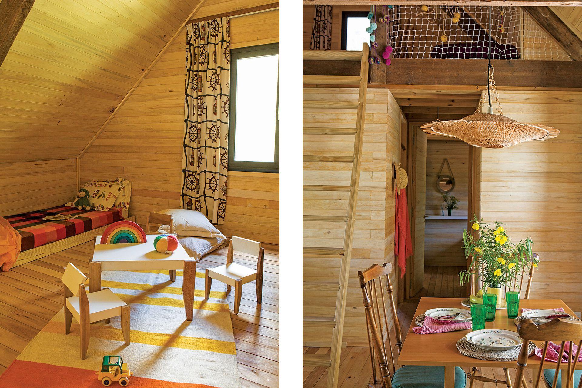 La inclinación de 45° fue perfecta para generar el playroom. Los muebles que lo ambientan fueron diseñados por AB Estudio. Alfombra (Elementos Argentinos), cortinas de algodón italiano con motivos náuticos y almohadones en tussor (Claudia Adorno).
