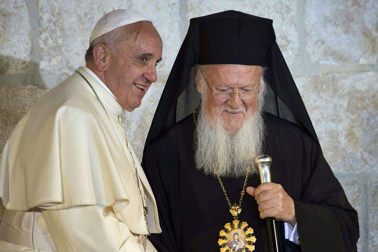 El papa Francisco, junto a Bartolomé