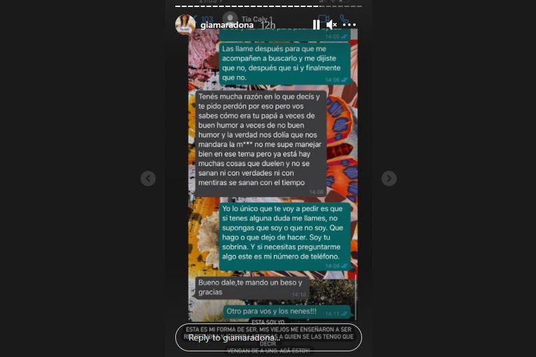 Captura de pantalla de historias en Instagram de Gianinna Maradona.