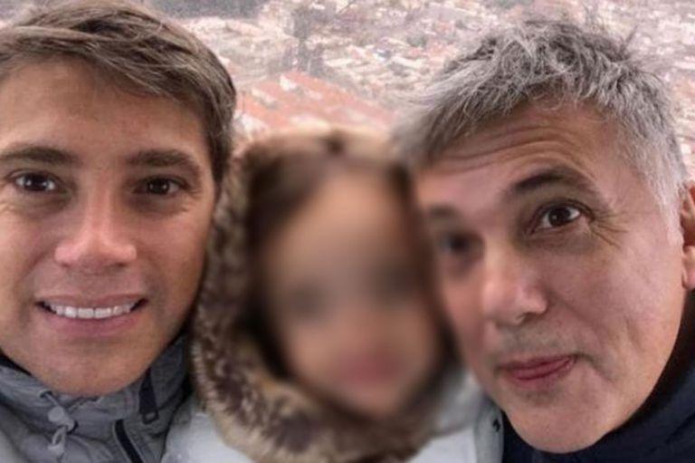 Andrés Galfrascoli, su marido, Fabián Núñez, y la hija de ambos, Sofía