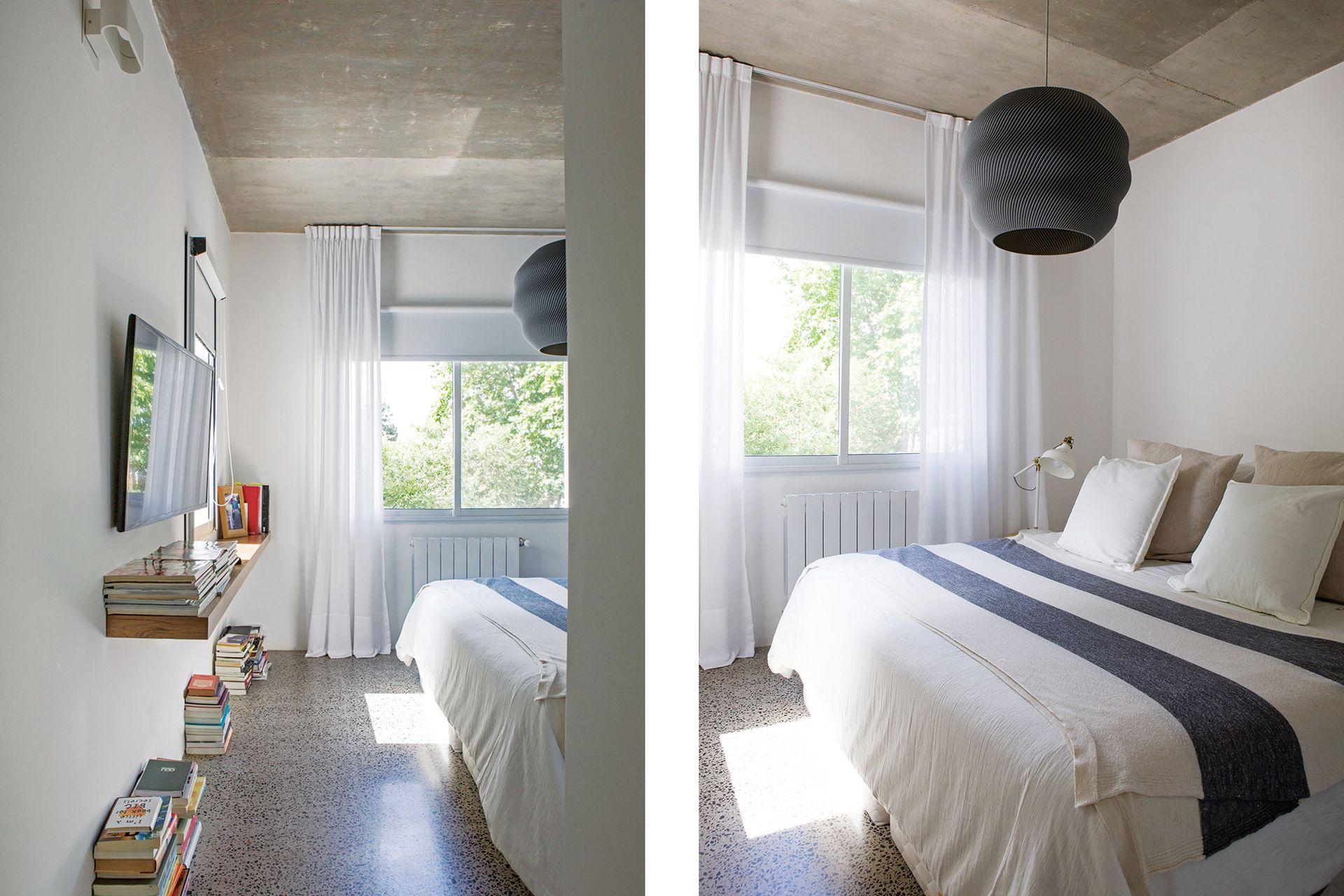 Arriba de la cama, lámpara de techo negra (Nuba).