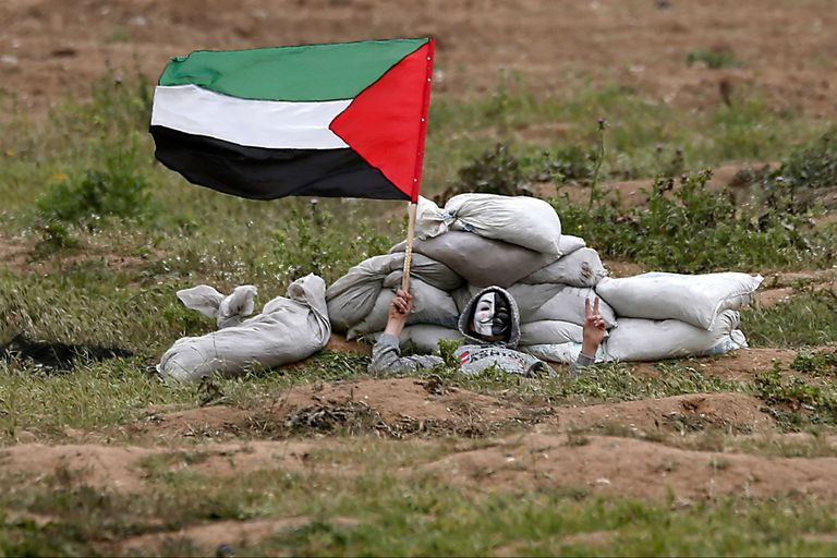 Un manifestante palestino desafiante hace flamear la bandera nacional mientras se cubre.