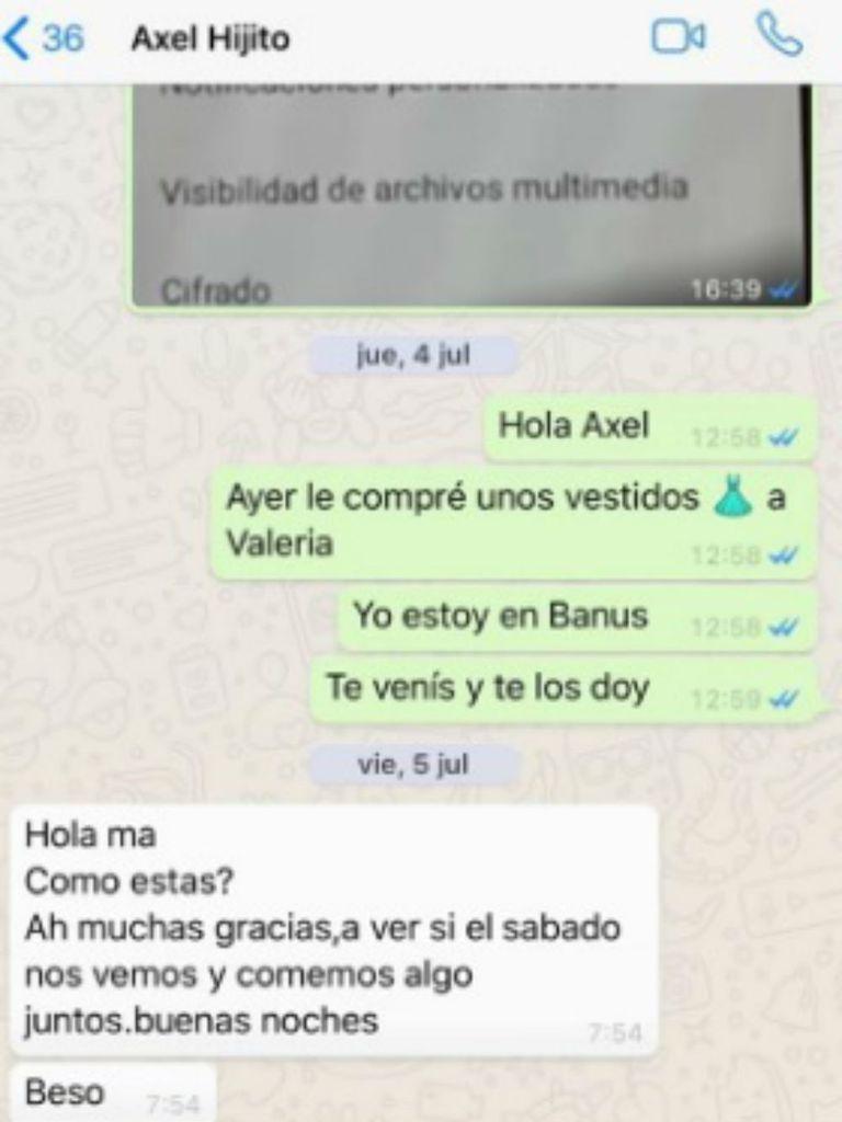 Uno de los chats publicados por Mariana