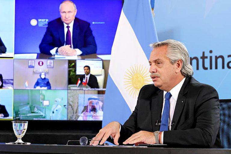 Alberto Fernández en conferencia virtual con Vladimir Putin