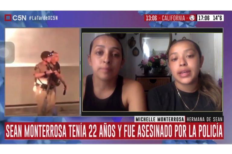 Michelle y Ashley Monterrosa, las hermanas de Sean, en una entrevista vía Skype con C5N