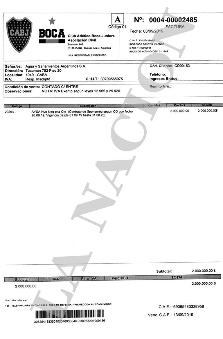 La factura que Boca emitió a nombre de AySA