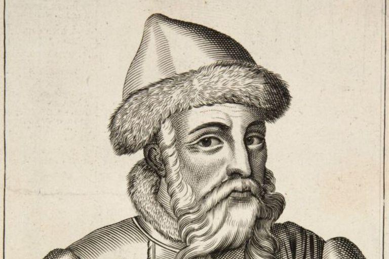"""John Guttemberg, grabado de """"Ejercicios mecánicos o la doctrina de las obras manuales aplicadas al arte de la imprenta"""", publicado en 1683"""