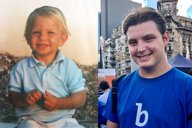 Ivan de bebé, poco antes de que sus papás recibieran su diagnóstico; y hoy, a los 19, durante una actividad de la Fundación Brincar