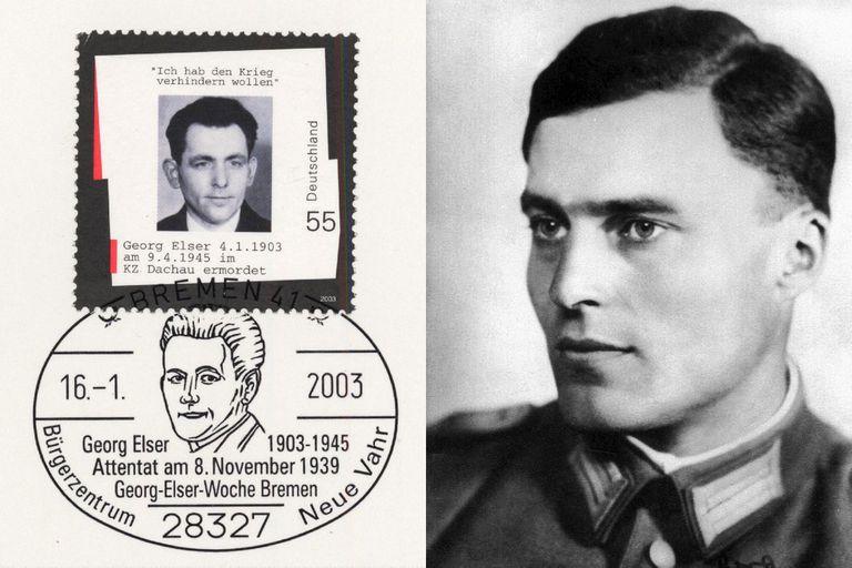 El carpintero Georg Elser y el coronel Claus Schenk Graf von Stauffenberg. Ambos intentaron matar a Hitler; los dos fallaron y lo pagaron con sus vidas. Hoy son considerados héroes