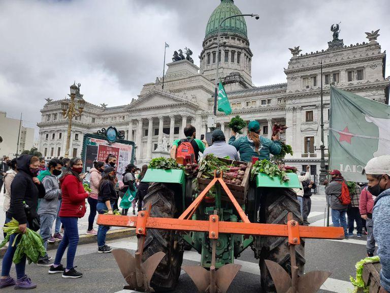 Por 48 horas, la Unión de Trabajadores y Trabajadoras de la Tierra (UTT) realiza un acampe por 48 horas frente al Congreso para exigir que se trate en el recinto el proyecto de ley de acceso a la tierra