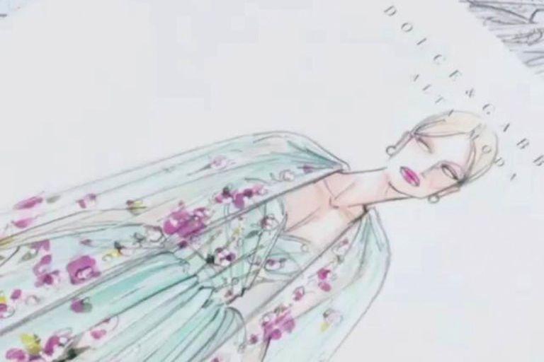 El boceto de uno de los trajes que llevó Lady Kitty Spencer.