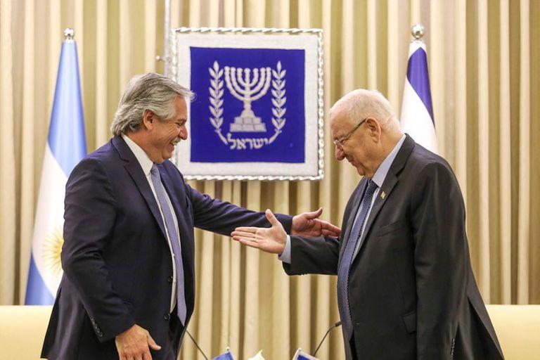 El presidente Alberto Fernández y su par israelí, Reuben Rivlin, se reunieron esta mañana en Jerusalén