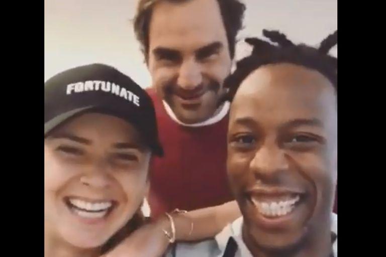 Federer le hizo una broma a Svitolina y Monfils