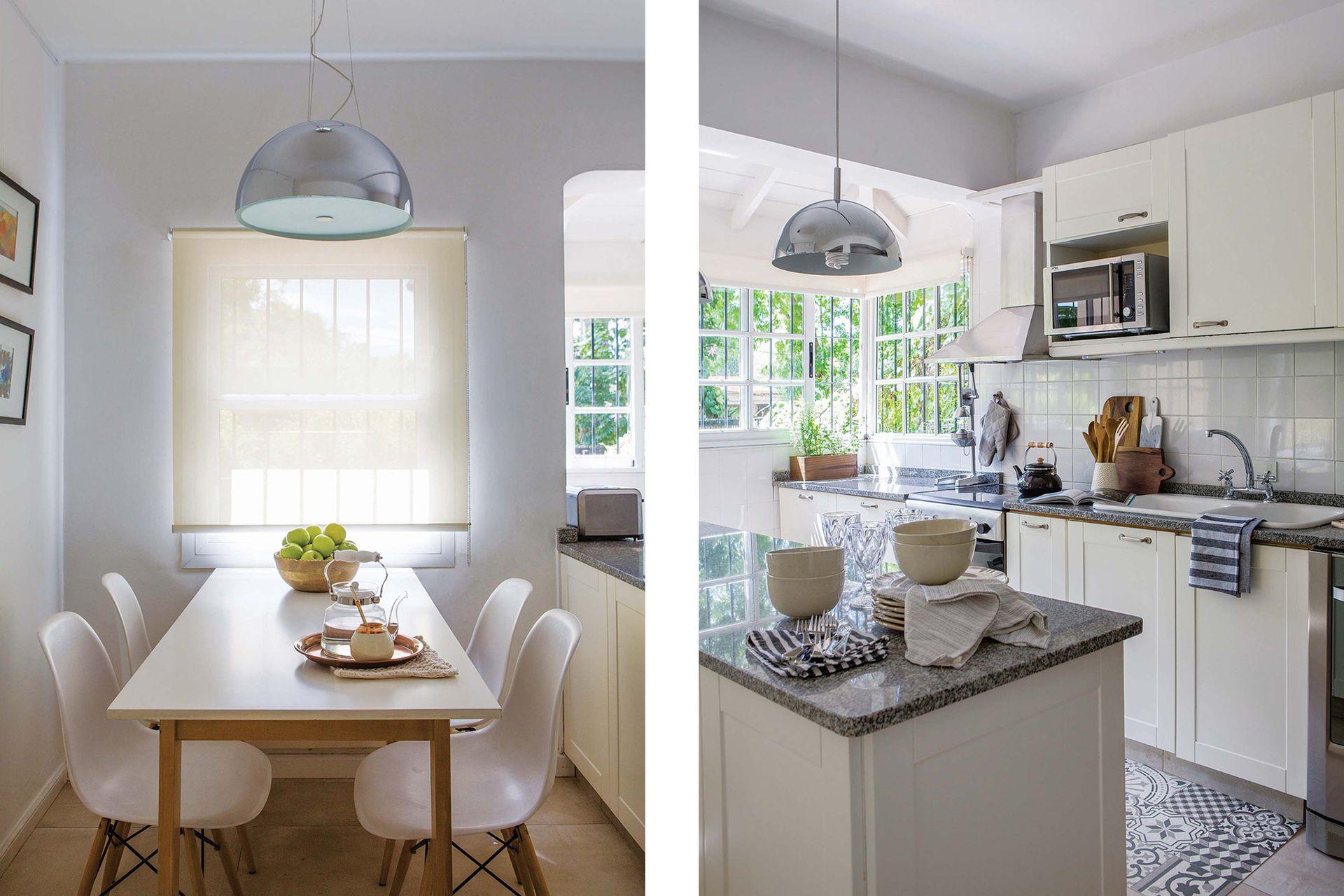 Mesa hecha a medida, sillas 'DSW Eames' y lámpara (Indelec). Pava de vidrio, mate y platos de cerámica (Philippa Deco Boutique). En la cocina alfombra vinílica (Mihran), pava negra (Casa Viló) y bowls de gres (Anda Calma).