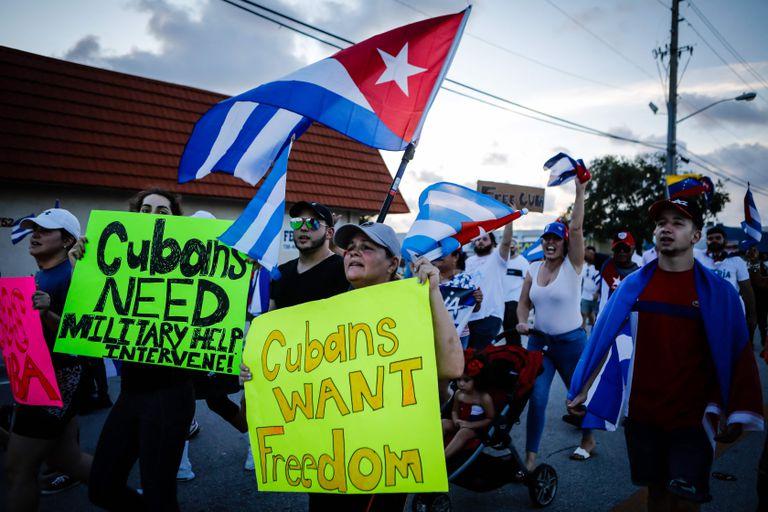 Las protestas de los cubanoestadounidenses en Florida la semana pasada