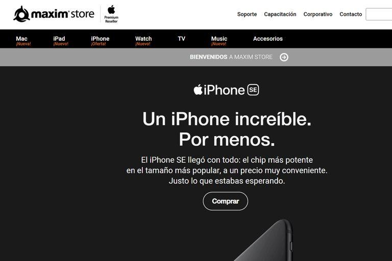 El iPhone SE ya se ofrece en MaximStore, uno de los distribuidores oficiales de Apple en la Argentina