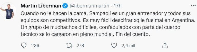 """Martín Liberman, sobre el ciclo de Jorge Sampaoli en la Selección argentina: """"Mascherano y compañía le hicieron la vida imposible"""""""